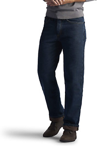 Lee Men#x27;s Fleece and Flannel Lined Relaxed Fit Straight Leg Jeans $27.89