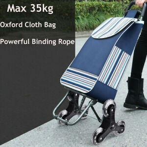 Stair Climbing Cart 6 Wheels Folding Grocery Laundry Shopping Handcart With Bag
