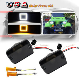 Smoked Switchback Amber Led Drl Front Signal Lights For Jeep 87 95 Wrangler Yj