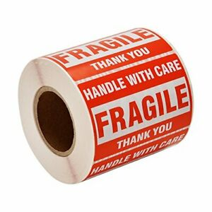 Sjpack 500 Fragile Stickers 1 Roll 2 X 3 Fragile Handle With Care