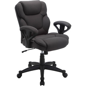 Office Chair Gray Mesh Fabric Executive Computer Mid Back Seat Heavy Duty Wheels