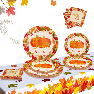 Thanksgiving Paper Plates And Napkins Fall Theme Party Supplies Disposable Dinne
