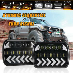 7x6 Led Headlights H4 Dynamic Turn Signal W Drl For Toyota Tacoma Celica Pickup