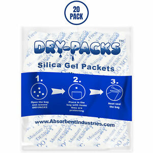 Silica Gel Packets Cotton Desiccant Moisture Dry Humidity Ammo Gun 1 2 Gram 20pk