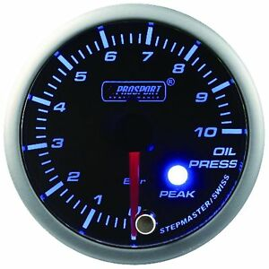 Prosport 52mm Premier Blue Super White Led Oil Pressure Gauge Bar