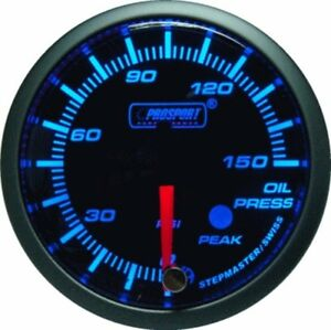 Prosport 52mm Premier Blue Super White Led Oil Pressure Gauge Psi