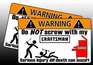 Craftsman Wrench Tool Red Toolbox Warning Sticker Chest
