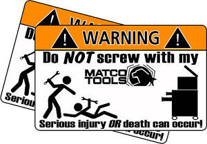 Matco Wrench Tool Toolbox Warning Sticker Decal Box