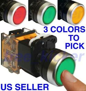 New Push Button Red Green Yellow Switch Momentary On Off Heavy Duty Push Button