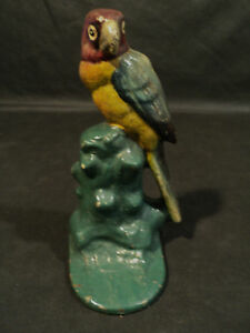 Awesome Antique Cast Iron Parrot Single Bookend C 1900