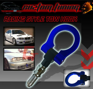 Front Rear Tow Hook Kit Blue Ring For Bmw 325 335i 330 328 318
