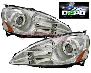 Fit 05 06 Acura Rsx Dc5 Projector Head Lights Lamps Depo Chrome Housing Pair