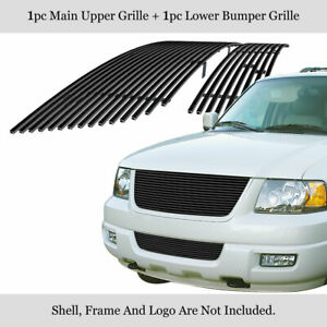 Fits Ford Expedition Black Billet Grille Combo 03 06