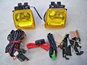For 96 98 Honda Civic Ek 2 3 4 Dr Jdm Yellow Fog Light Kit Glass Harness Switch