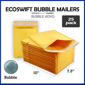 25 0 7 5x10 Kraft Bubble Mailers Padded Envelopes Dvd