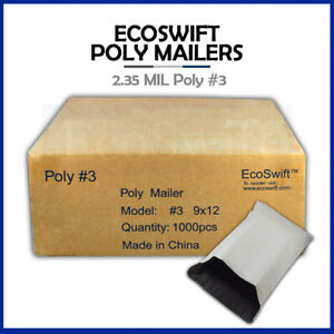 1000 9x12 White Poly Mailers Shipping Envelopes Bags 2 35 Mil 9 X 12