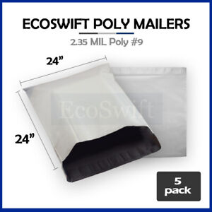 5 24x24 White Poly Mailers Shipping Envelopes Bags