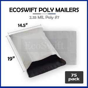 75 14 5x19 White Poly Mailers Shipping Envelopes Bags