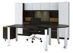 New Verde Modern Executive Office Desk Station Suite Set 707