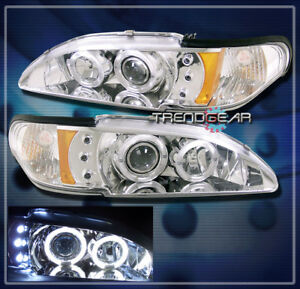1994 1998 Ford Mustang Dual Halo Led Projector Headlight Clear 1995 1996 1997 Gt