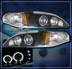 1994 1998 Ford Mustang Dual Halo Led Projector Headlight Black 1995 1996 1997 Gt