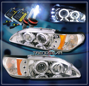 1994 1998 Ford Mustang Dual Halo Led Projector Headlights Hid Kit 1995 1996 1997