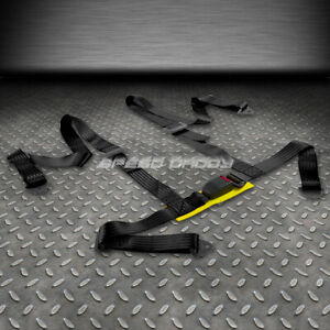 1x Universal 4 point 2 Strap Drift Racing Safety Seat Belt Buckle Harness Black