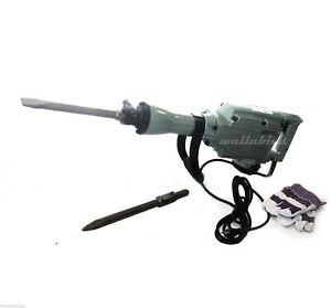 1240w Electric Demolition Jack Hammer Concrete Breaker 1400rpm 2 Bits