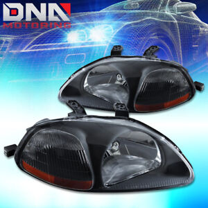 For Honda Civic 1996 1998 Ek Jdm Type R Look Black Housing Amber Headlights