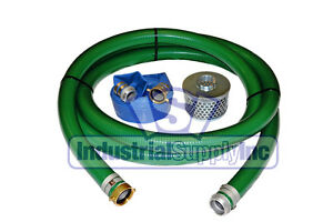 2 Green Pvc Pin Lug Suction Hose Trash Pump Kit W 100 Discharge Hose fs