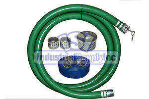2 Green Pvc Fcam X Mp Suction Hose Trash Comp Kit W 100 Discharge Hose fs