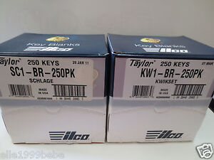 Lot 500 Key Blanks 250 Kwikset Kw1 250 Schlage Sc1 Brass Made By Ilco