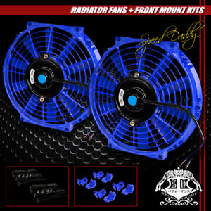 2x Universal Slim 10 Pull Push Radiator Engine Bay Cooling Fan Mounting Kit Blue
