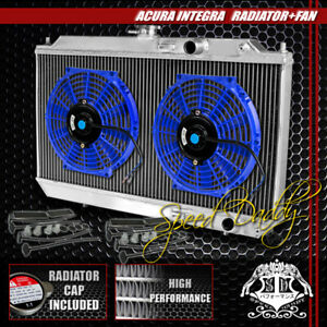 Full Aluminum 2 Row Core Radiator 2x 10 Blue Cooling Fan 90 93 Acura Integra Da
