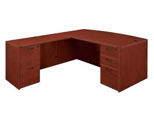 New Amber Bowfront L shape Executive Office Desk