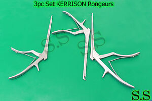 3 Pcs Set Kerrison Rongeurs 7 1mm 2mm 3mm Up 45 Degree Surgical Instruments