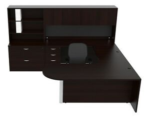 New Amber Bullet U shape Executive Office Desk With Hutch File Cabinet Storage