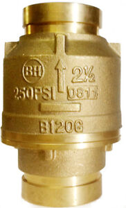 2 1 2 Brass Swing Fire Check Valve 250 Psi Bronze Body Grooved End