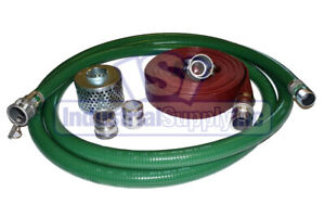 2 Green Trash Pump Suction Hose Comp Camlock Kit W 25 Red Discharge Hose