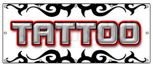 48 x120 Tattoo 1 Banner Sign Shop Artist Signs Body Art Gun Piercing