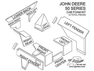 John Deere Tractor Cab Foam Kit 4050 4250 4450 4650 4850 New 12 Pieces Brown