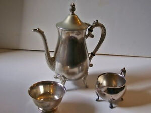 Leonard Silverplate Vintage Coffee Tea Service Pot Creamer Sugar Silver Plate