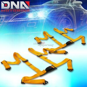 Pair X2 4 points Gold Racing Harness Seat seats Belt belts Mounting Drift Race