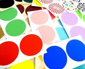 50mm 2 Inch Round Stickers Coloured Circles Circular Sticky Labels 42 Colours