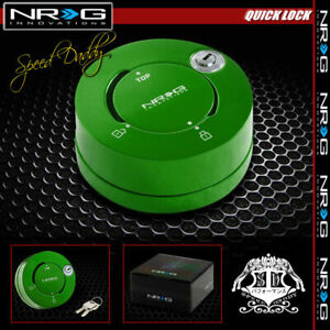 Nrg Thin Steering Wheel Short 6 hole Quick Release Lock W Key Adaptor Kit Green