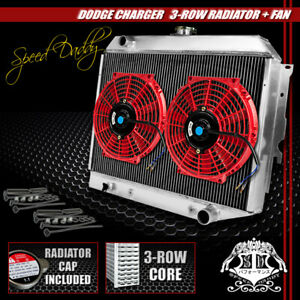Racing 3 row Aluminum Radiator 2 X 10 Red Fans 68 73 Charger coronet satellite