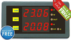 Programmable Digital Dual Display 90v 75a Combo Meter Voltage Amp Power Ah Hour