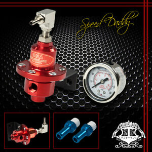Universal Aluminum 160 Psi Adjustable Kpa Fuel Pressure Regulator Oil Gauge Red