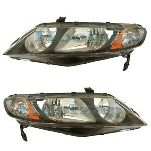 Civic Hybrid Sedan Headlight Headlamp Head Light Lamp Left Right Side Set Pair
