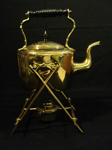 Early 19th C Brass Teapot On Stand With Original Burner Marked